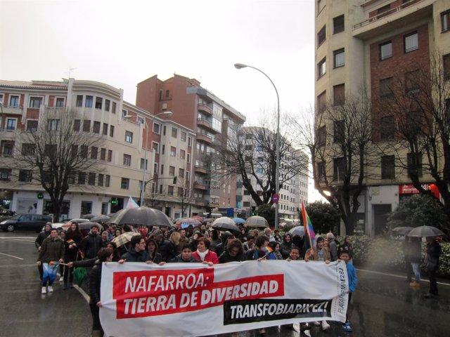 Manifestación en Pamplona contra la transfobia