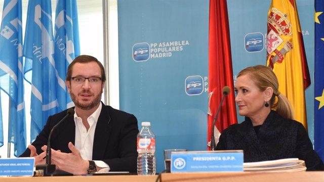 Cristina Cifuentes y Javier Maroto en la reunión Grupo Populae