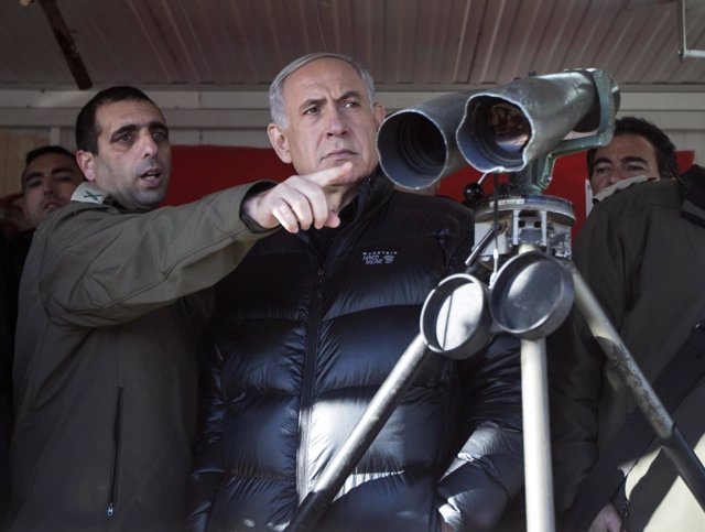 El primer ministro israelí, Benjamin Netanyahu, de visita en los Altos del Golán