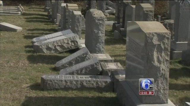 Lápidas judías rotas en Filadelfia