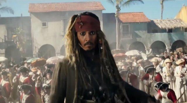 Johnny Depp como Jack Sparrow en Piratas del Caribe 5