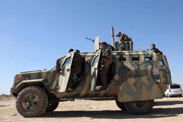 Combatientes de las Fuerzas Democráticas Sirias (FDS)