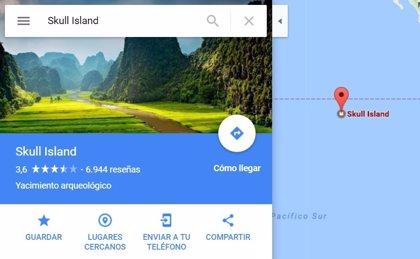 Google Maps emplaza en mitad del Pacífico Sur la Isla Calavera de King Kong