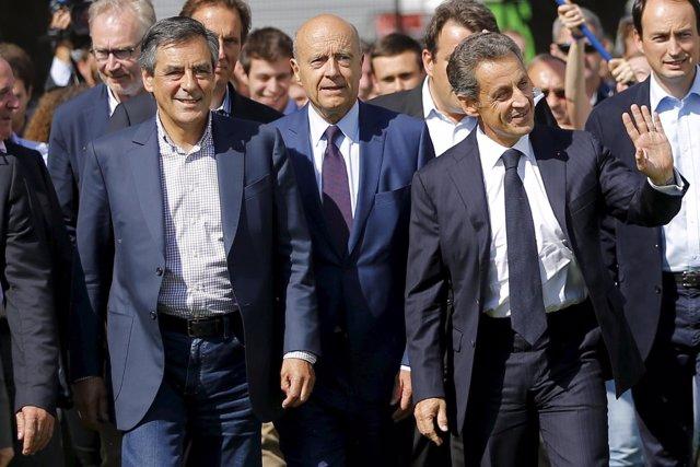 François Fillon, Alain Juppé y Nicolas Sarkozy