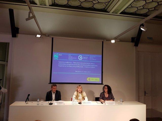 Josep Prieto (UOC), Núria Castell (UPC) y Milagros Sáinz