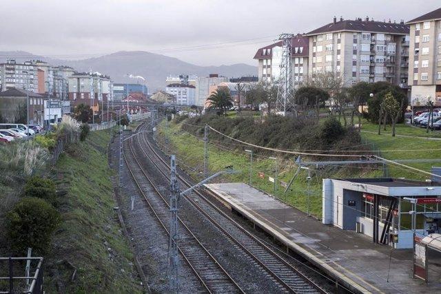 Vías del tren. Trazado ferroviario. Maliaño. Camargo. Cantabria. Soterramiento