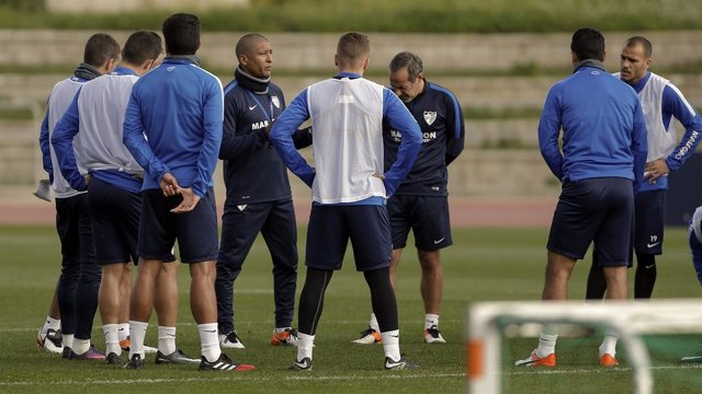 Marcelo 'Gato' Romero entrenando al Málaga