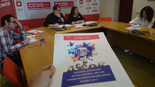 Jaime Cedrún y Pilar Morales durante la presentación del informe.