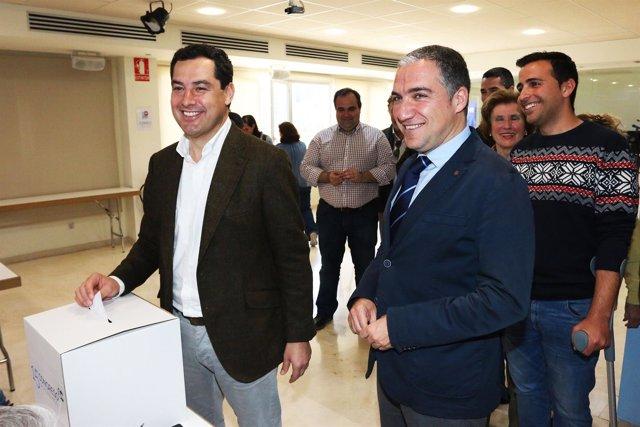 El presidente del PP-A, Juanma Moreno. Elías Bendodo. Votación Congreso Regional