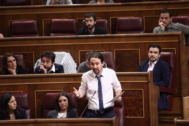 Ione Belarra, Irene Montero, Pablo Iglesias y otros diputados de Unidos Podemos
