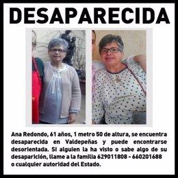 Ana Redondo, mujer desaparecida en Valdepeñas.