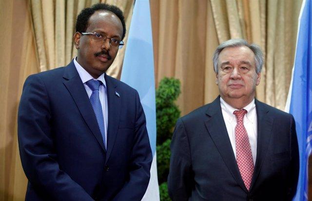 Antonio Guterres y el presidente somalí, Mohamed Abdullahi Mohamed