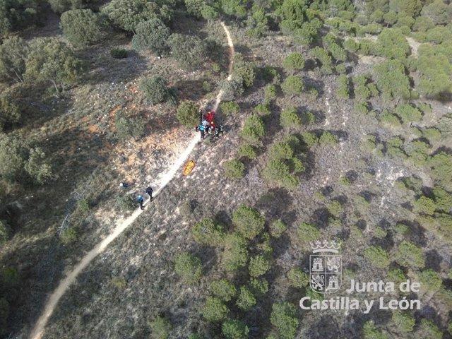 Rescate a ciclista en el monte El Viejo, en Palencia