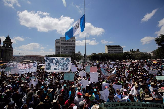 Marcha campesina en Ciudad de Guatemala