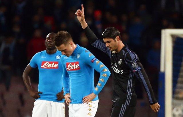Álvaro Morata celebra un gol contra el Nápoles en Champions