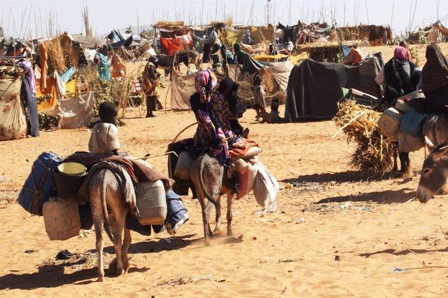 Desplazados por la violencia en Jebel Marra (Sudán)