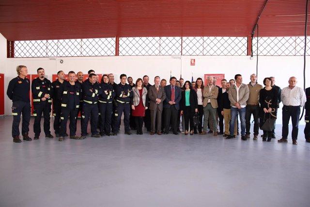 Villalobos en el parque de bomberos de Cazalla.