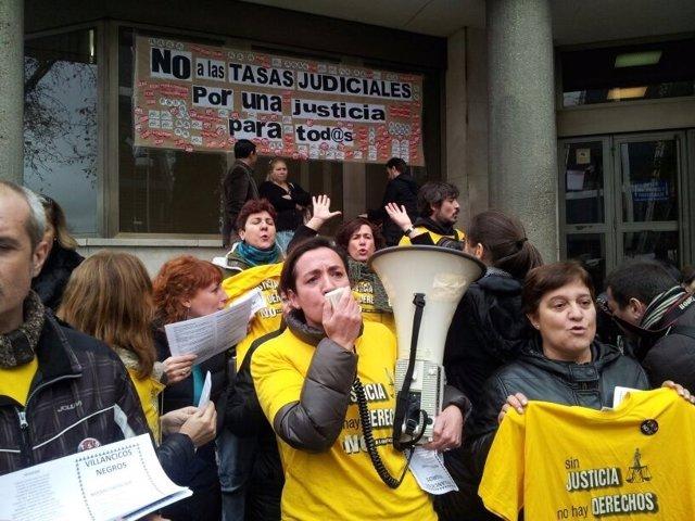 Funcionarios judiciales en Plaza Castilla