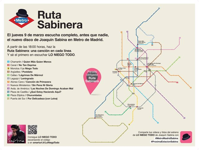Sabina adelantará su disco en Metro Madrid