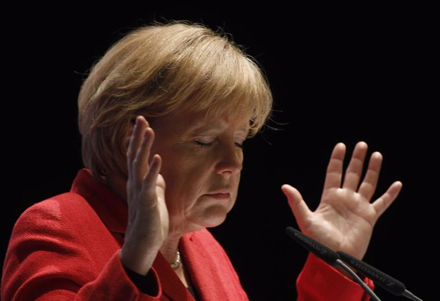 German Chancellor Angela Merkel gestures during a election campaign in the weste