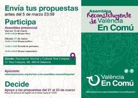 València en Comú celebra una asamblea reconstituyente junto a Ahora Madrid y Barcelona en Comú