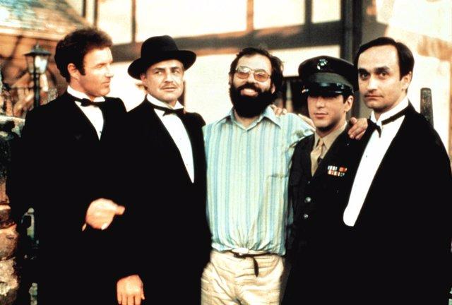 Marlon Brando, Francis Ford Coppola y Al Pacino en El Padrino