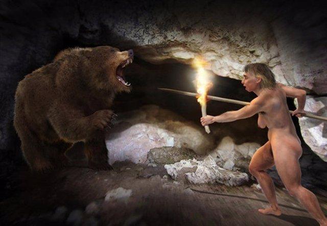 Recreación artística de una mujer neandertal y un oso