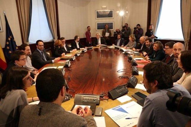 Reunión del PSOE, Podemos y Ciudadanos