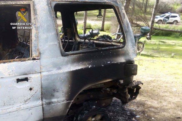 Vehículo hallado calcinado tras su robo en Aljaraque (Huelva)