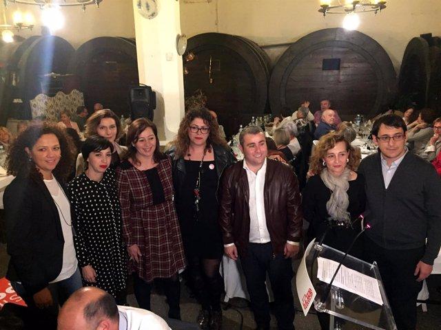Ruth Mateu, Francina Armengol, Iago Negueruela en la cena por el día de la mujer