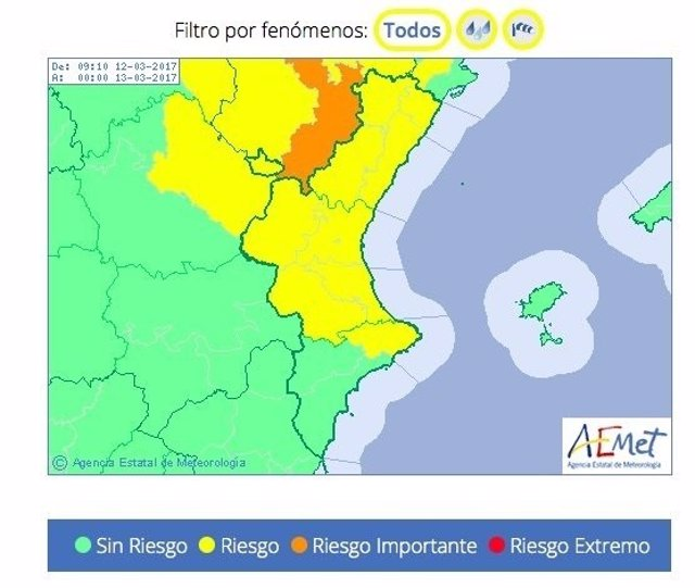 Aemet ha decretado aviso de riesgo en Valencia y Castellón