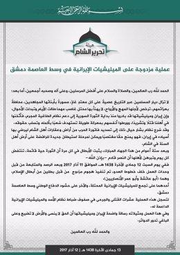 Comunicado Tahrir al Sham atentado en Damasco