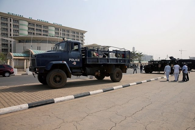 Anti-riot police vehicles are seen parked during an anti-South African violence