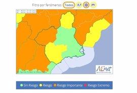 Meteorología mantiene todos sus avisos para este lunes y añade aviso amarillo por lluvias
