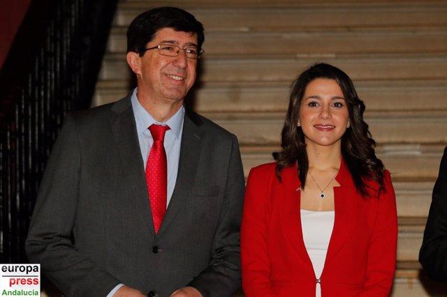 Juan Marín e Inés Arrimadas, en los Desayunos de Europa Press Andalucía