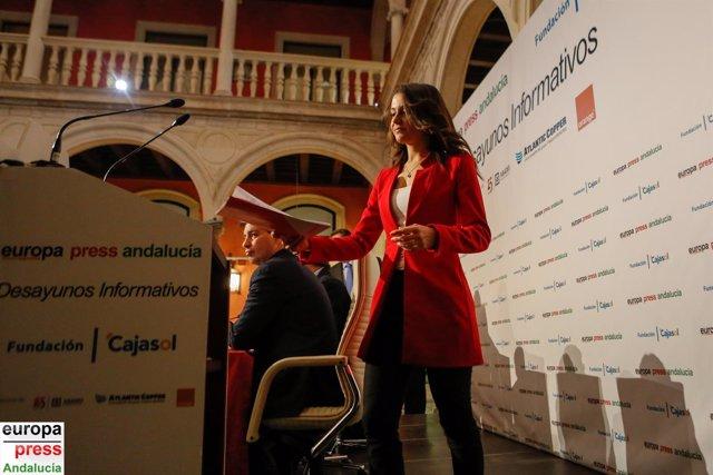Inés Arrimadas, en los Desayunos de Europa Press Andalucía