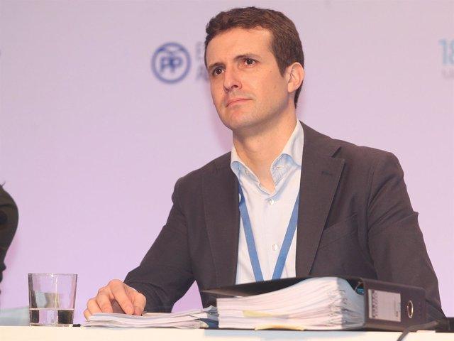 Pablo Casado durante el Congreso Nacional del PP