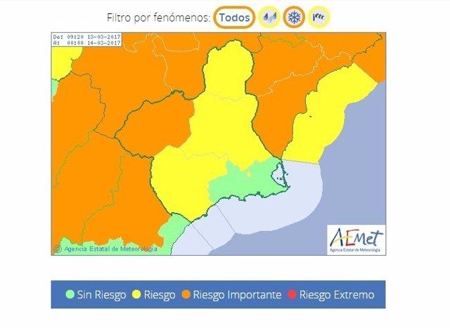 Imagen de los avisos meteorológicos activos este lunes