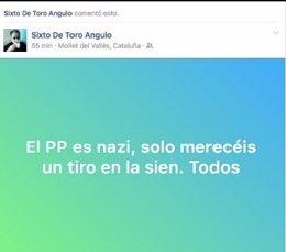 Captura del mensaje de De Toro facilitada por el PP