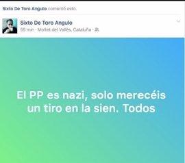 """El PP lleva a Fiscalía al candidato de Compromís en Tibi por decir que merecen """"un tiro en la sien"""""""