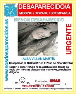 Alba Villán Martín, desaparecida en El Viso del Alcor (Sevilla).
