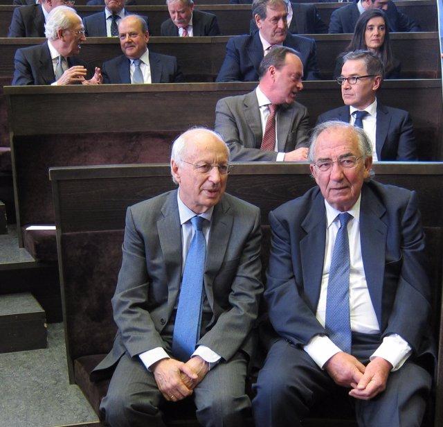 José Luis Aguirre y Amado Franco (Ibercaja), esta tarde en el Paraninfo