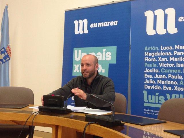 Luís Villares, portavoz de En Marea, en rueda de prensa 13 de marzo