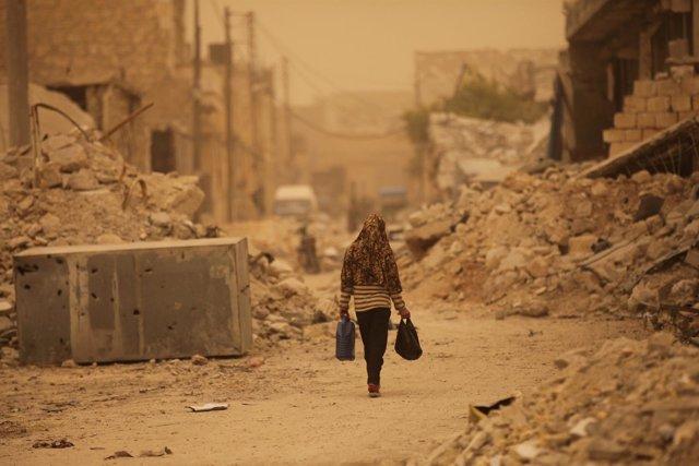 Tormenta de polvo en Al Bab