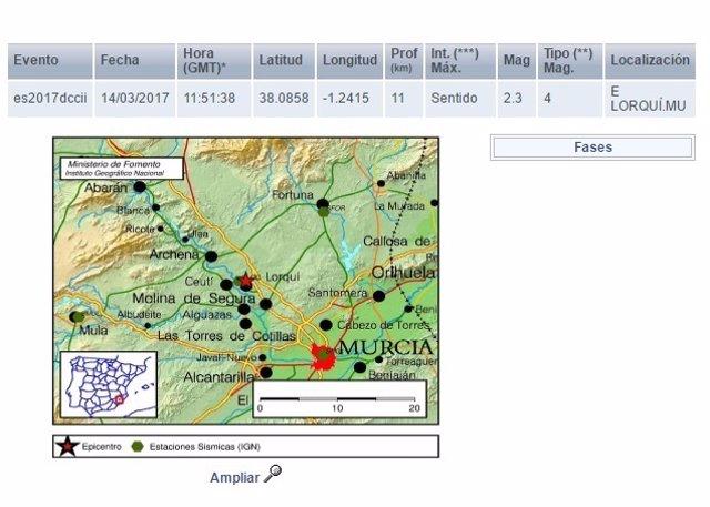 Imagen de la localización del epicentro del terremoto