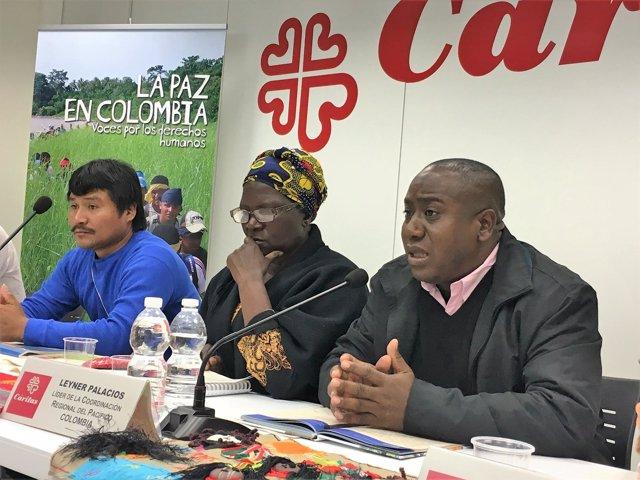 Aurelio Jumi, Virgeliana Chará y Leyner Palacios, en rueda de prensa