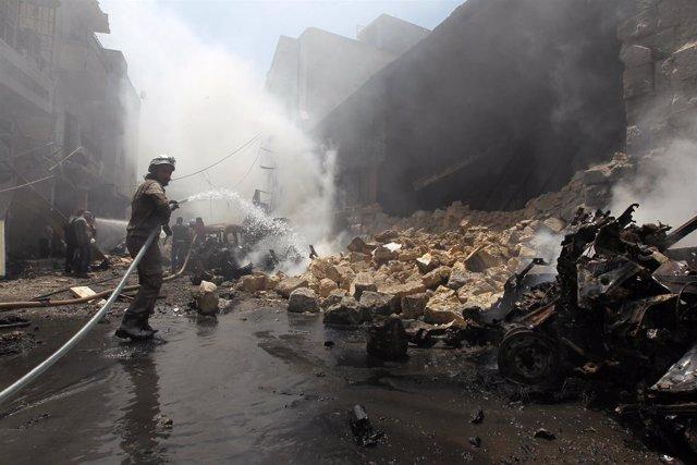 Resultado de un bombardeo en Idlib