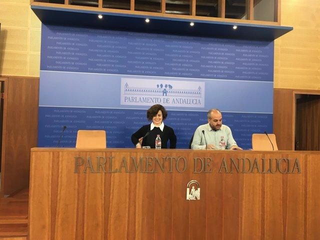 Esperanza Gómez y Jesús de Manuel, de Podemos, en rueda de prensa