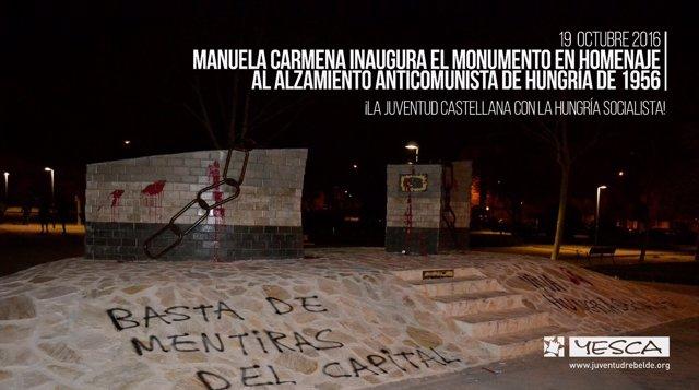 Atacan el monumento de la Revolución Húngara