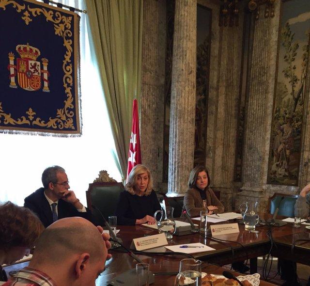 La delegada del Gobierno en Madrid, Concepción Dancausa, en la rueda de prensa